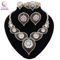 CYNTHIA High Quality Gold color Jewelry Set Nigerian Wedding African Beads Costume Jewelry Necklace Bracelet Earrings Ring Set