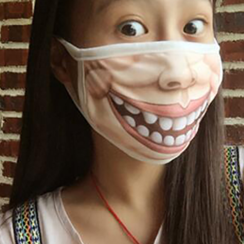Creative Mouth Mask Mischievous Anti-Dust Warm Face Masks Breathable Funny Printing Washable And Easy To Breathe Mask FPJKZ26