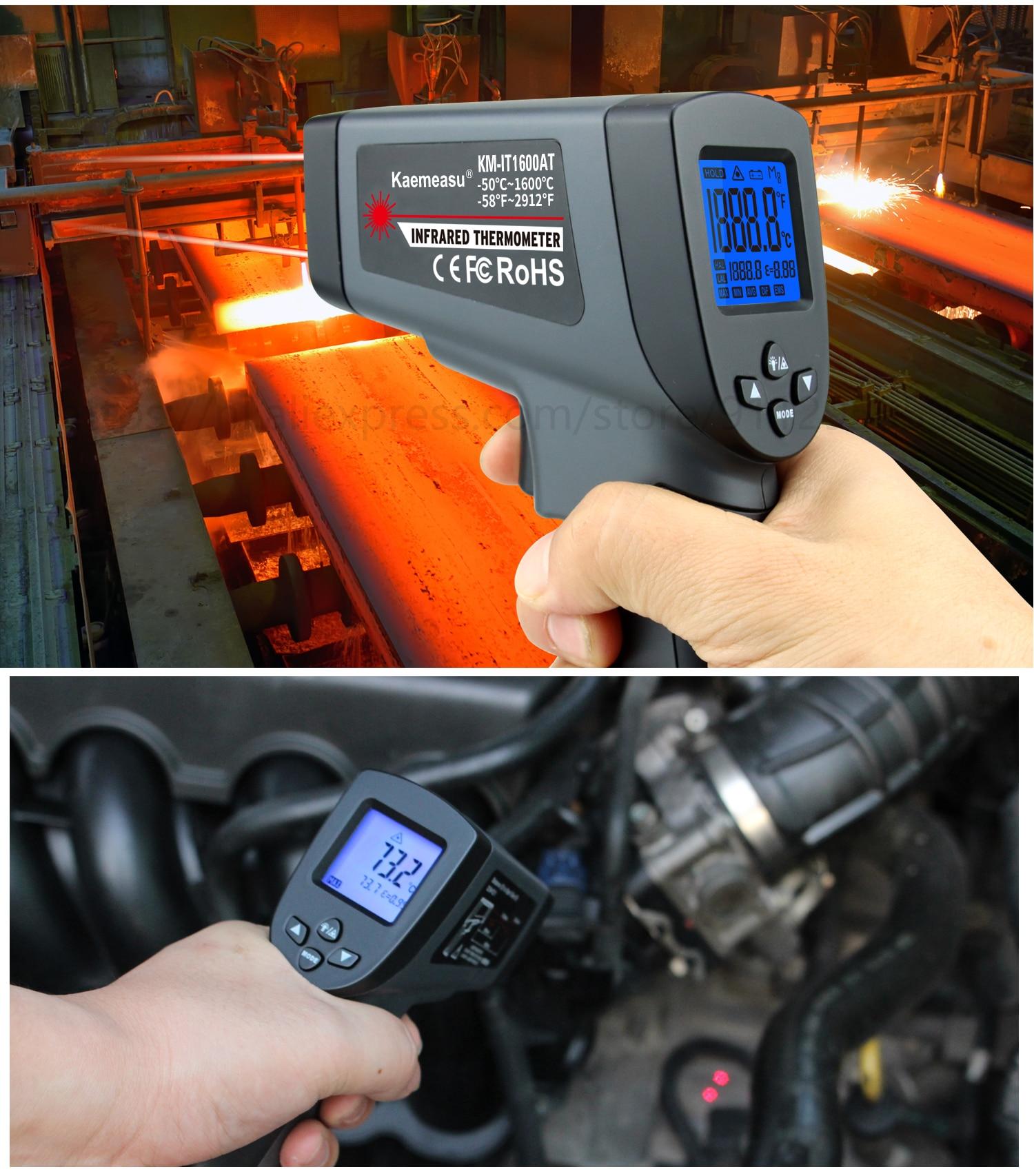 Kaemeasu Digitale Infrarood Thermometer -50 ~ 1600 Meetbereik, Non-contact, Veiligheid, Koken, industriële Elektronische Thermometer Pistool 25