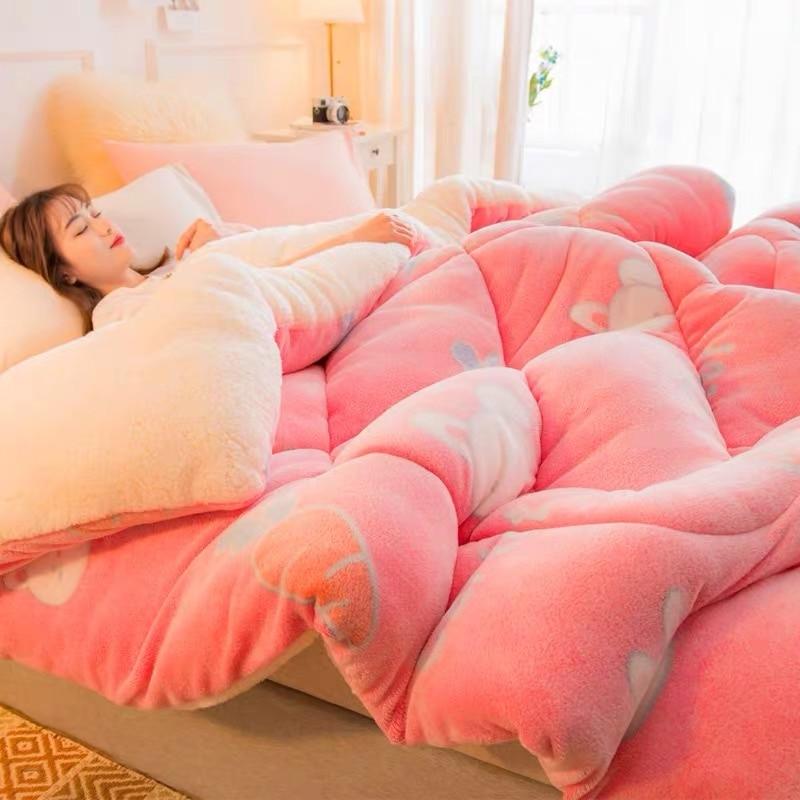 Super Warm Lamb Blanket Quilt Winter Double Velvet Quilt Thickened Warm Plush