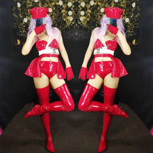 Red patent leather stage bikini set Nightclub Bar Stage Outf