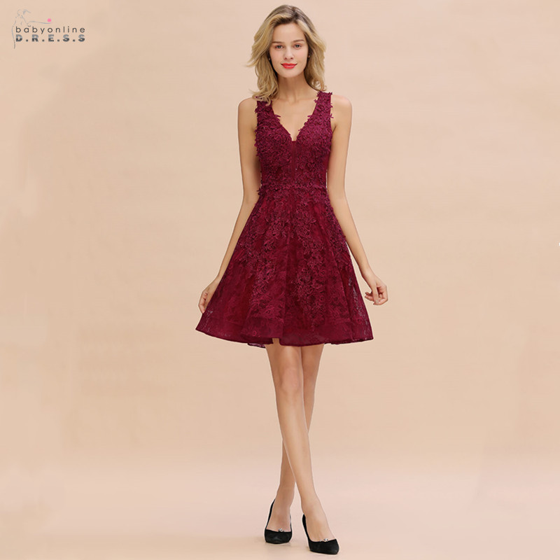 Cocktail-Dresses Vestidos Coctel Lace Modern A-Line V-Neck Embroidery with Sexy Short