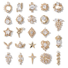 2pieces 3D metal Zircon Nail art jewelry japanese nail decorations top quality zircon crystal manicure diamond charms