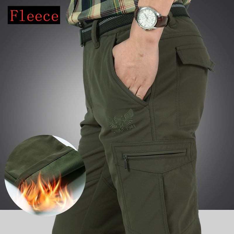 Cargo Pant Work-Trousers Softshell Military Winter Fleece Thicken Men's 4XL Warm Fabric