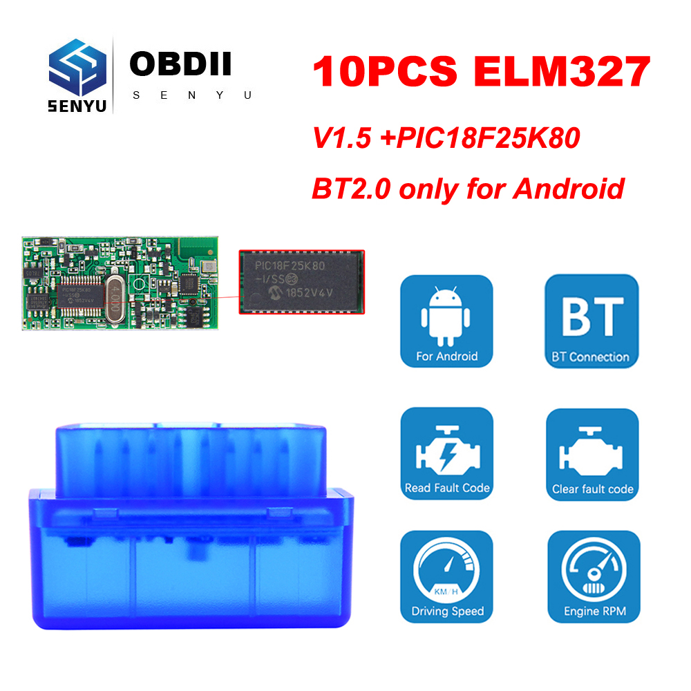 10PCS ELM327 V1.5 PIC18F25K80 elm 327 v1.5  For Android/PC OBD2  Bluetooth Scanner OBD 2 OBD2 Diagnostic Tool ODB2 Code ReaderCode  Readers