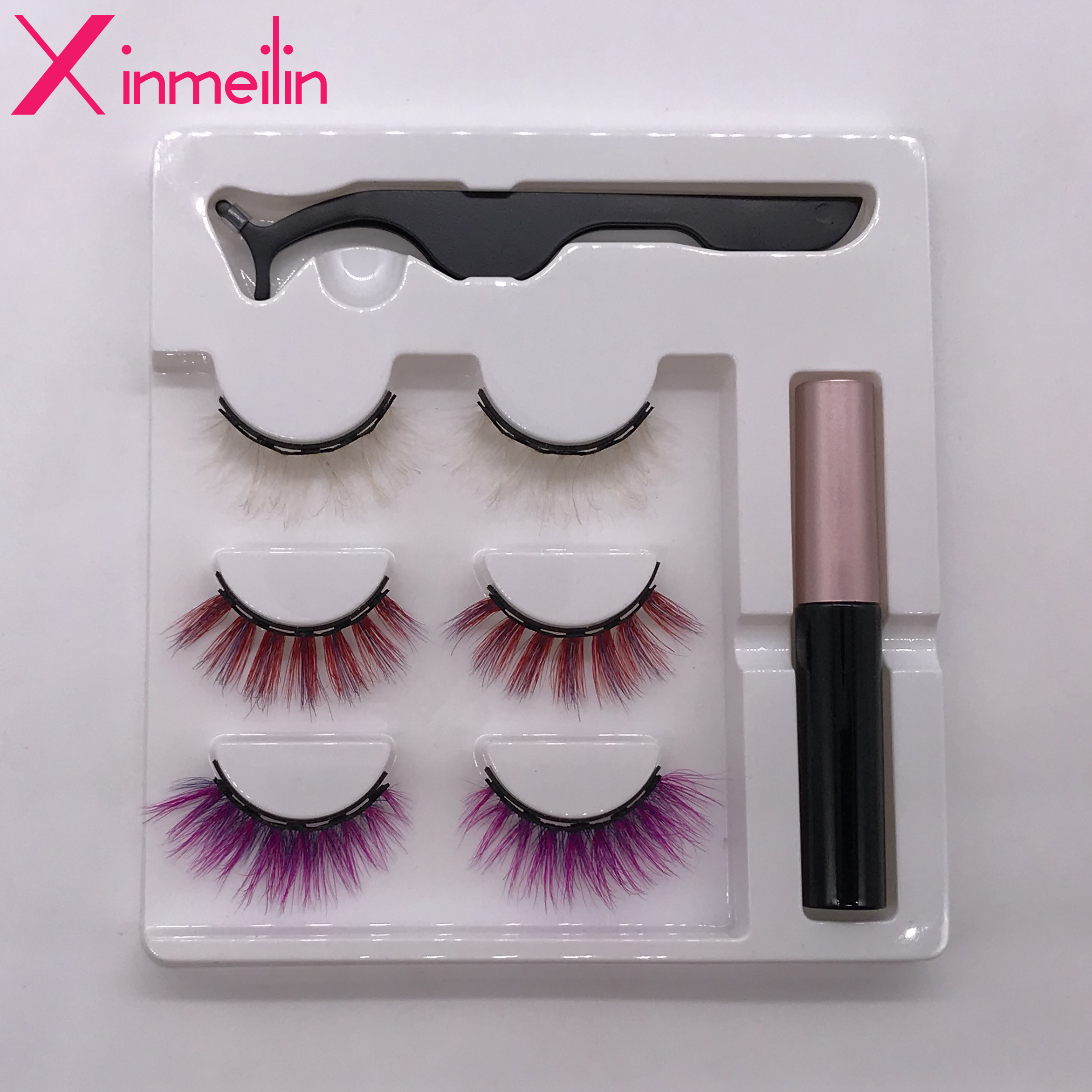 3 Pairs 3D Luxurious Mink Color Magnet Fake Eyelash Set Multicolor Optional Waterproof Long Lasting Magnetic Eyelash Extension