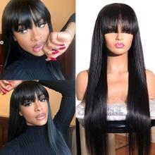 Straight Wig Natural-Color 100%Human-Hair Hair-Bangs Angelbella-Hair Remy Women Brazilian