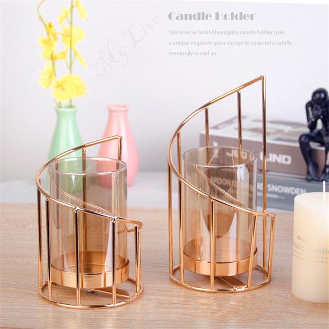Golden Iron Candle Holder European geometric Candlestick Romantic Crystal Candle Cup Home Decoration Table Decoration 3