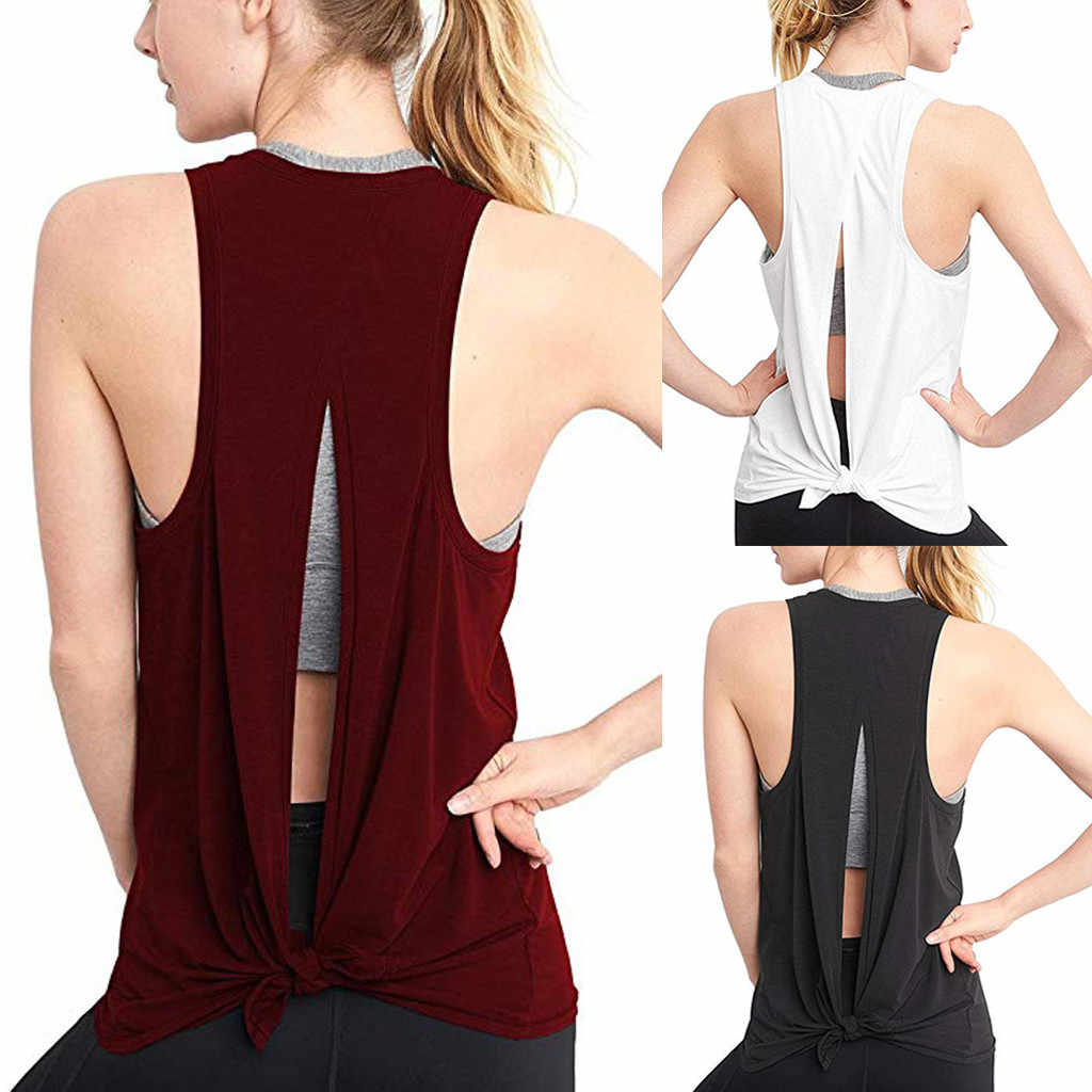 Sexy Open Back Sport Solid Yoga Shirts Tie Workout Racerback Tank Tops Fitness Tops Vrouwen Sport Shirt Yoga Shirt Vrouwen # A0
