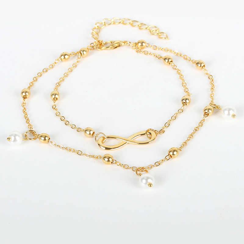 Moda hotspot perły 8-charakter łańcuszek na kostkę biżuteria damska ręcznie robione koraliki podwójny łańcuch obuwie plażowe łańcuszek na kostkę