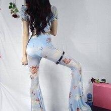 V Neck T Shirts Angel Print See Through Mesh Flare Pants Two Piece Set Short Sleeve Crop Tops Cupid Long Pant Sets