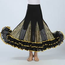 Women Latin Rumba Skirt Salsa Modern Waltz Cha Tango Flamenco Ballroom Dance Dress 803-572