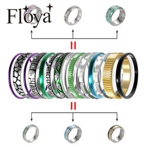 Image 1 - Floya Zwarte Ring Rvs Vintage Verwisselbare Ringen Set Vrouwen Stapelbaar Band Ring Luxe Pakket Anillos Mujer