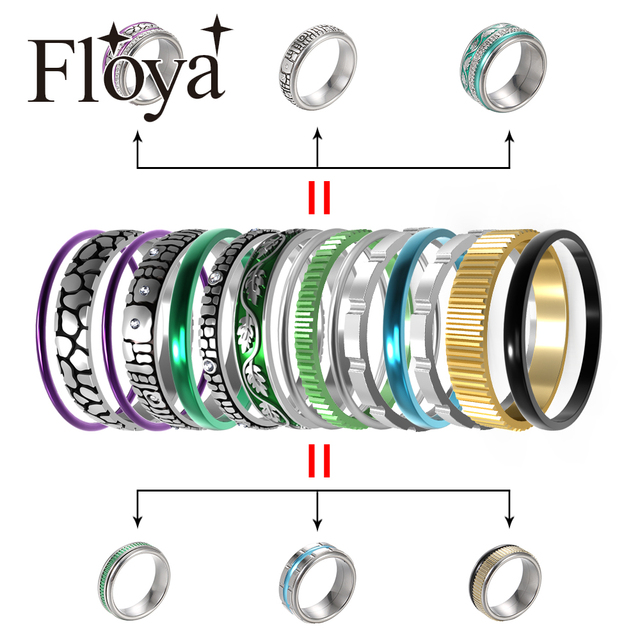 Floya Zwarte Ring Rvs Vintage Verwisselbare Ringen Set Vrouwen Stapelbaar Band Ring Luxe Pakket Anillos Mujer