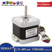 Frete grátis 1 pçs 4-lead nema17 motor deslizante 42 nema 17 motor 1.7a 17hs4401 para cnc fresadora impressora 3d motor