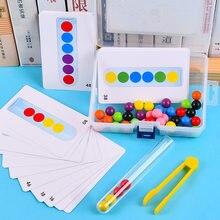 Grânulos de madeira jogo montessori educacional cedo aprender crianças clipe bola quebra-cabeça pré-escolar criança brinquedos para crianças presentes