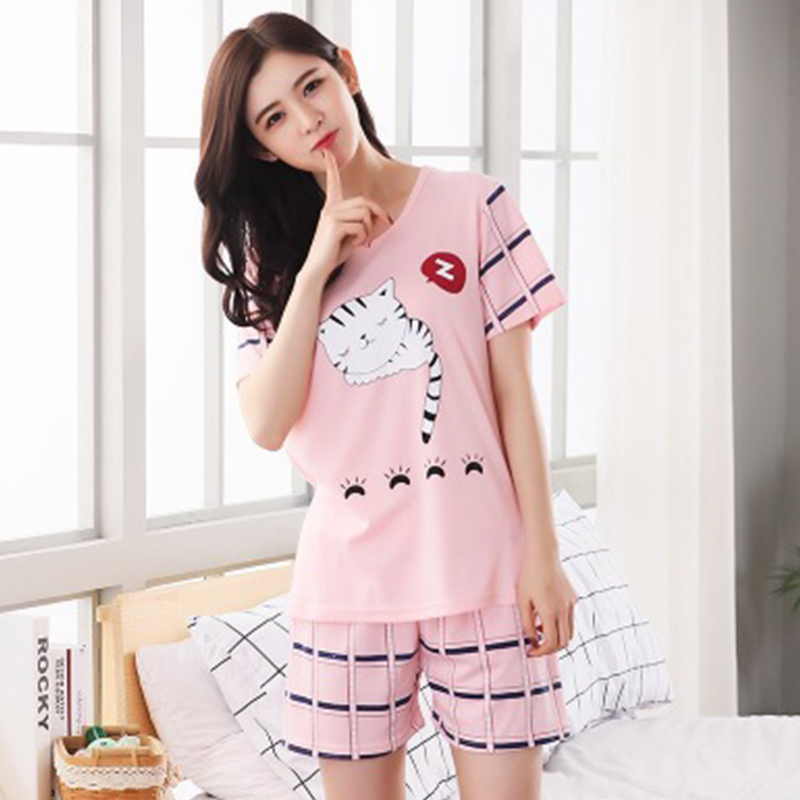 New Cartoon Pattern Sweet Pajama Set Women New Style Loose Casual Round Collar Short Sleeve Sleepwear 2019