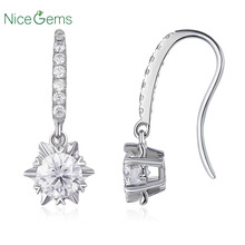 NiceGems Solid 14K 585 White Gold Moissanite Drop Earrings 1.3CTW Center Stone 5mm D Color VVS1 with Accents for Women