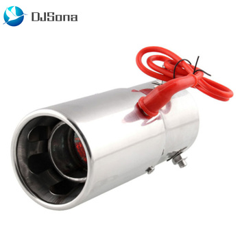 Coche Universal 70MM garganta Led rojo fuego respiración tubo de escape de acero inoxidable de la motocicleta silenciador de escape de