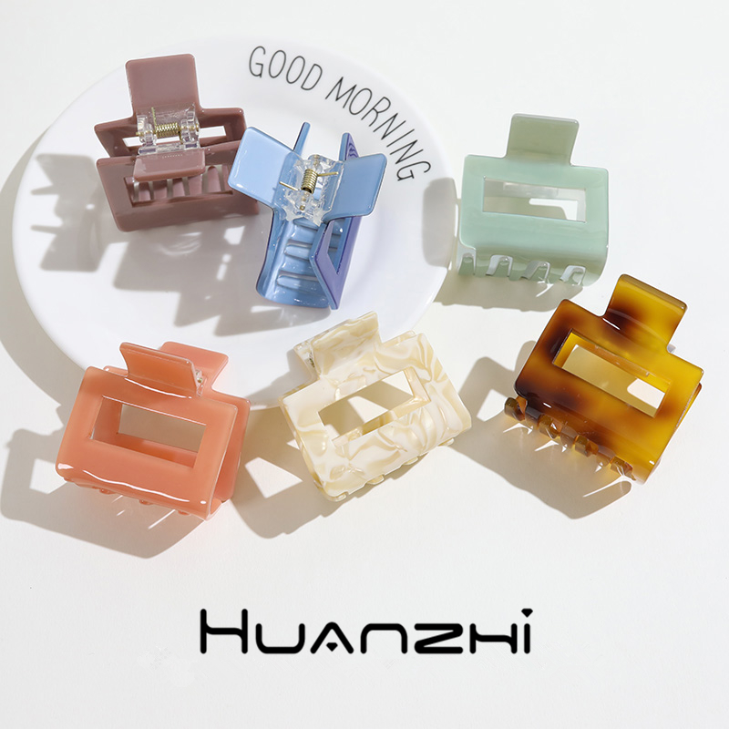 HUANZHI 2020 Korean New Simple Rectangle Acetate Acrylic Geometric Rectangle Hair Clips Hairpins Hair Accessories For Women