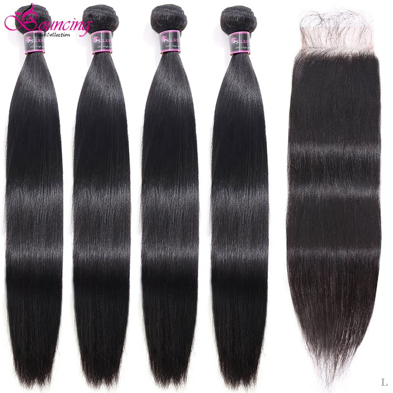 Bouncing 28 30 32 Inch Straight Bundles With Closure #1B Brazilian Remy Human Hair 3/4 Bundles With Closure Human Hair Extension