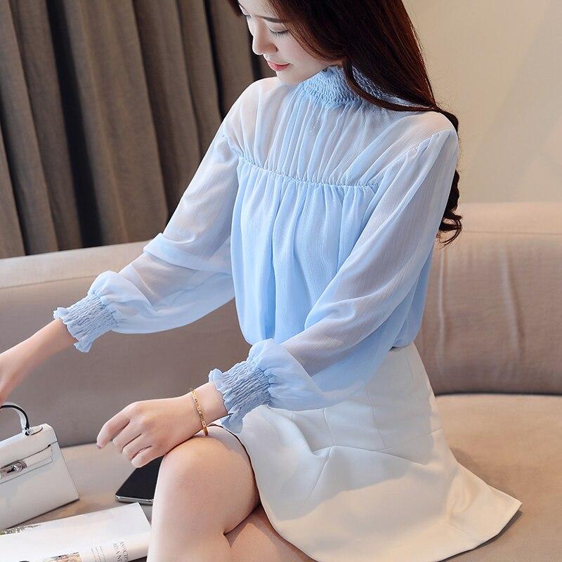 Korean Fashion Clothing Chiffon Women Blouses Lantern Sleeve Pink Women Shirts Plus Size XXL Femininas Elegante Ladies Tops in Blouses amp Shirts from Women 39 s Clothing