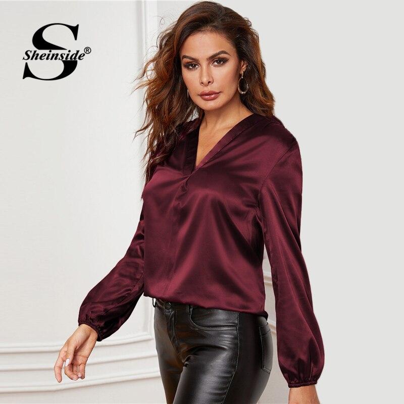 Image 3 - Sheinside Elegant Burgundy V Neck Satin Blouse Women 2020 Spring  Lantern Sleeve Blouses Ladies Solid Minimalist TopBlouses