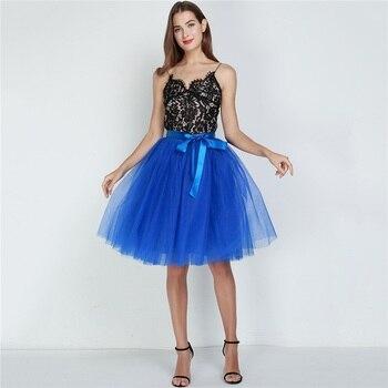6Layers 65cm Fashion Tulle Skirt Pleated Tutu Skirts Womens Lolita Petticoat Bridesmaids Vintage Midi Skirt Jupe Saias faldas 3