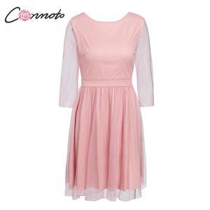 Image 5 - Conmoto 우아한 핑크 backless 여성 드레스 여성 2019 가을 겨울 높은 허리 드레스 패션 메쉬 스팽글 vestidos