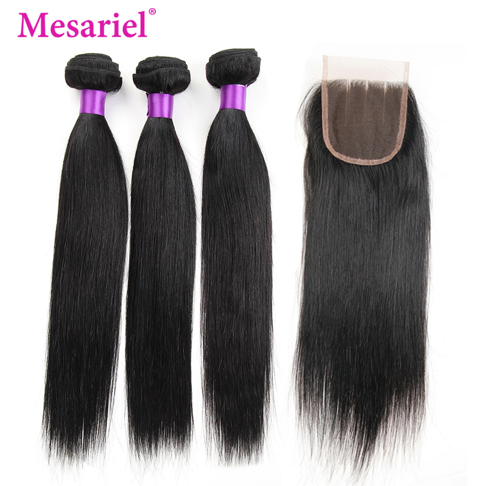 Mesariel Brazilian Straight Hair Bundles With Closure Human Hair 3/4 Bundles With Closure Non Remy Hair Extension