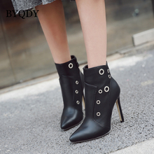 BYQDY Fashion Black Ankle Boots For Women Metal Decoration Thin Heels Autumn Shoes High Zipper Ladies PU Leather