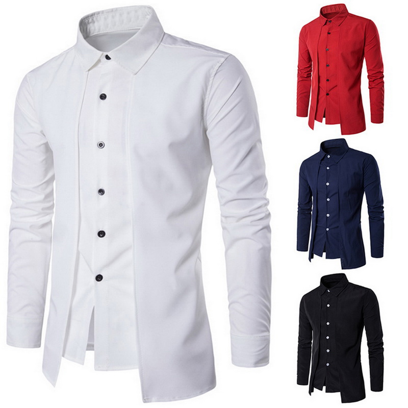 2020 Men's Shirts Casual Fake Two Piece Brand Bussiness Dress Shirts Autumn Solid Cotton Formal Clothing Long-Sleeved