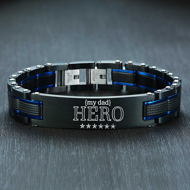 Vnox MY DAD HERO Bracelets for Men Motivation Jewelry Heavy Chunky Stainless Steel Wristband Personalize Love Gift to Him