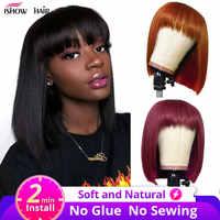 Ishow-peluca corta Bob con flequillo para mujer, cabello humano de jengibre, con flequillo, 99J, peluca corta y recta, pelucas de colores a máquina