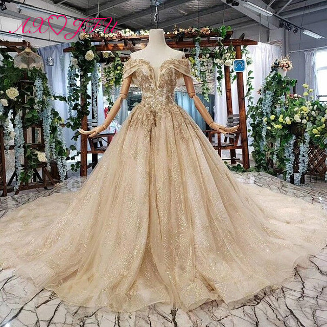 AXJFU Luxury princess golden flower lace boat neck beading crystal sparkly star bride tail wedding dress 100% real photo 11669