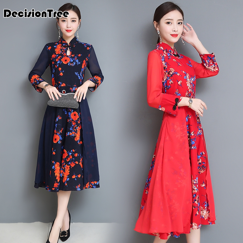 2019 Improved Cheongsam Dress Ao Dai Vietnam Vintage Fake Two Pieces Vietnam Clothing Floral Print Women Vintage Casual Retro
