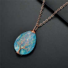 Fashion Handmade Tree of Life Copper Wire Wrapped Necklace Pendant Blue Resin Plastic Water Drop Healing Crystal Necklace(China)