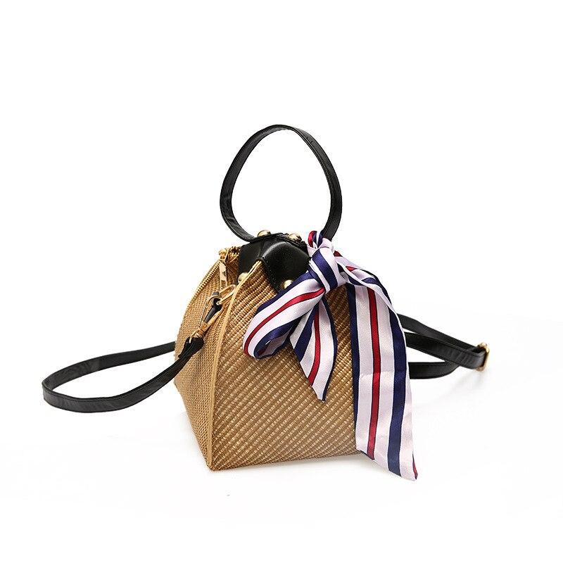 2019 Straw Beach Bag With Handkerchief Bolsa Feminina Shoulder Bag Messenger Crossbody Bags For Women 2018 Bolsa De Palha Donna