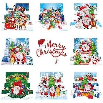 8 шт. DIY алмазная живопись поздравительная открытка дрель Счастливого Рождества Набор для вышивания Санта Клаус рождественские открытки на крафт-бумаге украшение дома
