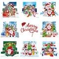 8 шт. DIY алмазная живопись поздравительная открытка дрель Счастливого Рождества Набор для вышивания Санта Клаус рождественские открытки на ...