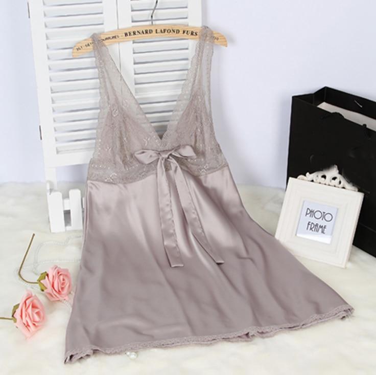 Wanita Sutra Satin Gaun Malam Renda Gaun Malam Musim Panas Gaun Rumah - Pakaian dalam - Foto 3