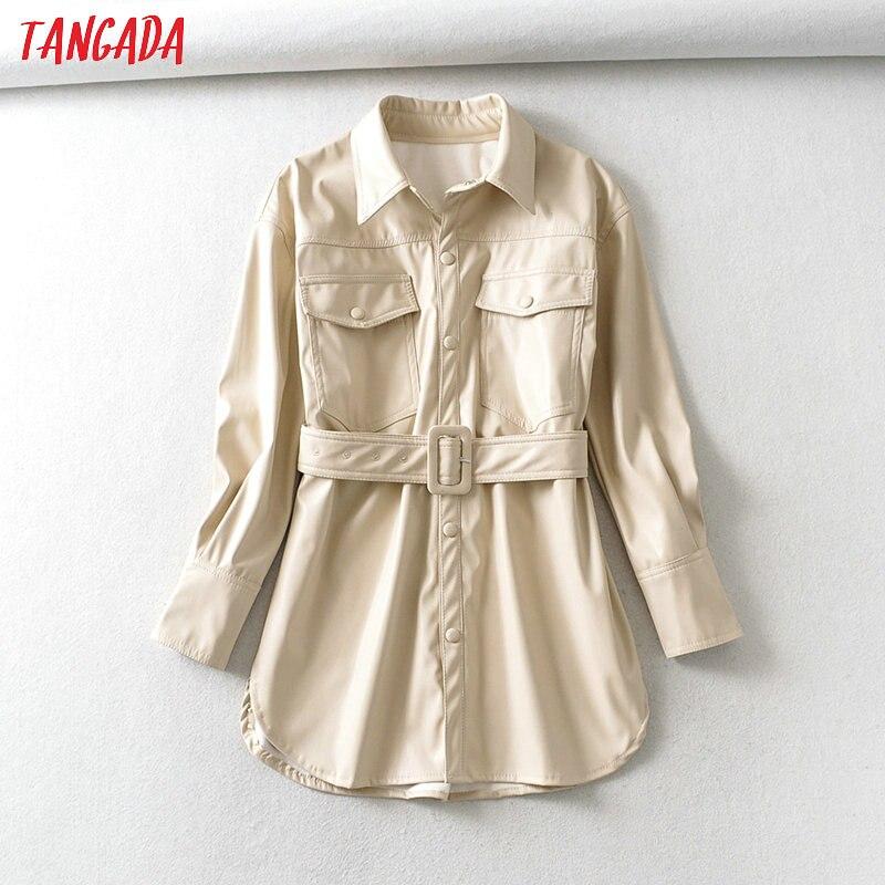 Tangada Women Beige Faux Leather Jacket Coat 2020 New Turn Down Collar Ladies Long Sleeve Loose Oversize Coat 6A47