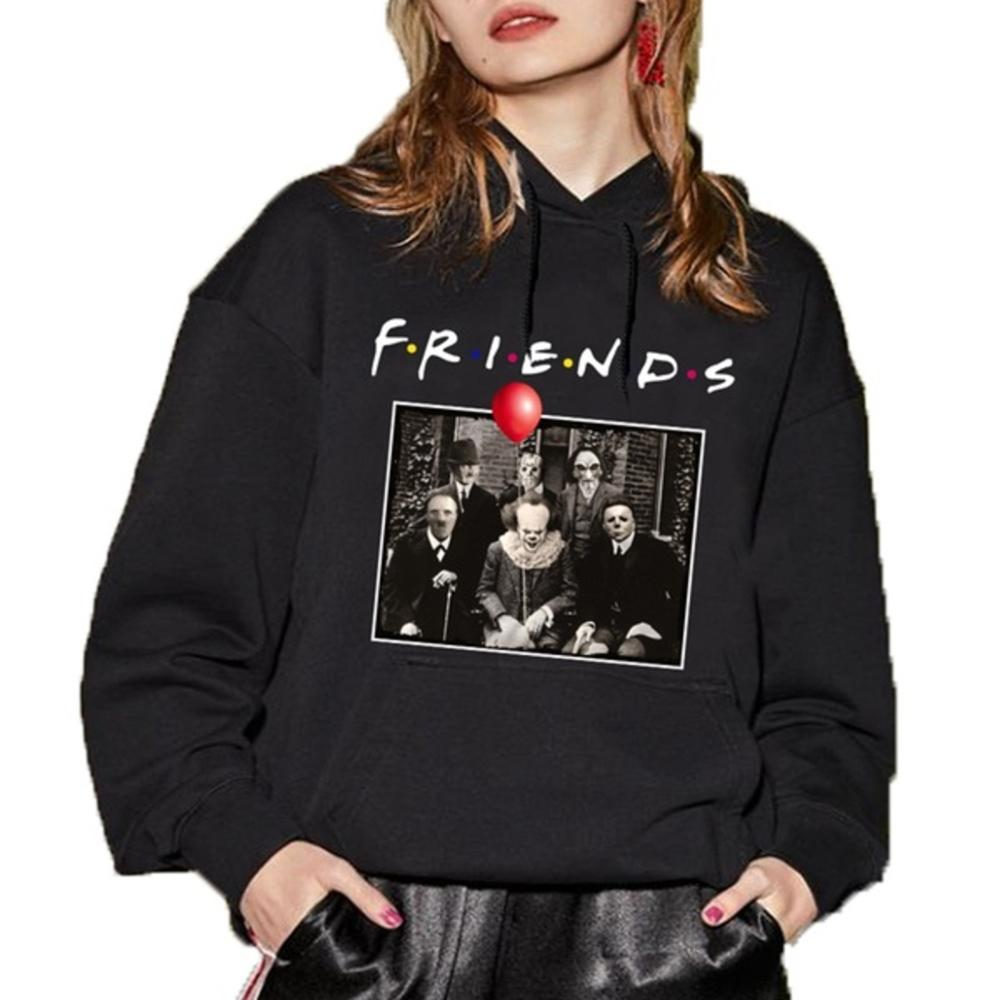 Unisex TV Show Horror Hoodies Friends Halloween Michael Jason Penny Sweatshirt Hooded Pullover With Pockets Hip Hop Cotton