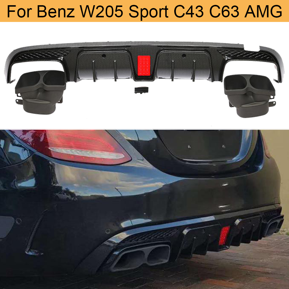 Rear Diffuser Lip for Mercedes Benz C-Class <font><b>W205</b></font> <font><b>C200</b></font> C300 C400 C43 C63 <font><b>AMG</b></font> 14-19 Rear Bumper Diffuser Lip with Exhaust Tips image