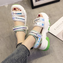 Shoes 2020 Summer Multicolored Sandals Women's Heels Med All-Match Clogs Wedge Ladies Sale Female With Medium Beach Comfort(China)