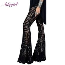 Pantalon noir Sexy avec paillettes à jambes larges pour femme, nouvelle collection, taille haute, pantalon de fête, Club, noël, Streetwear, évasé