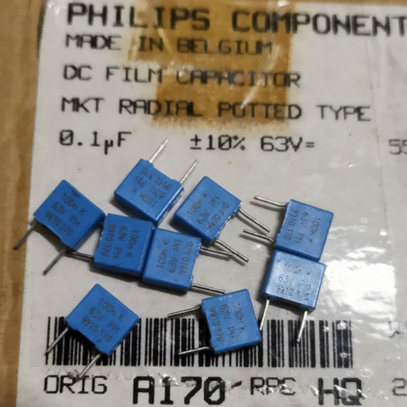 10pcs//100pcs Philips PH standard MKT370 series 1uF//63V 5/% film capacitor 105