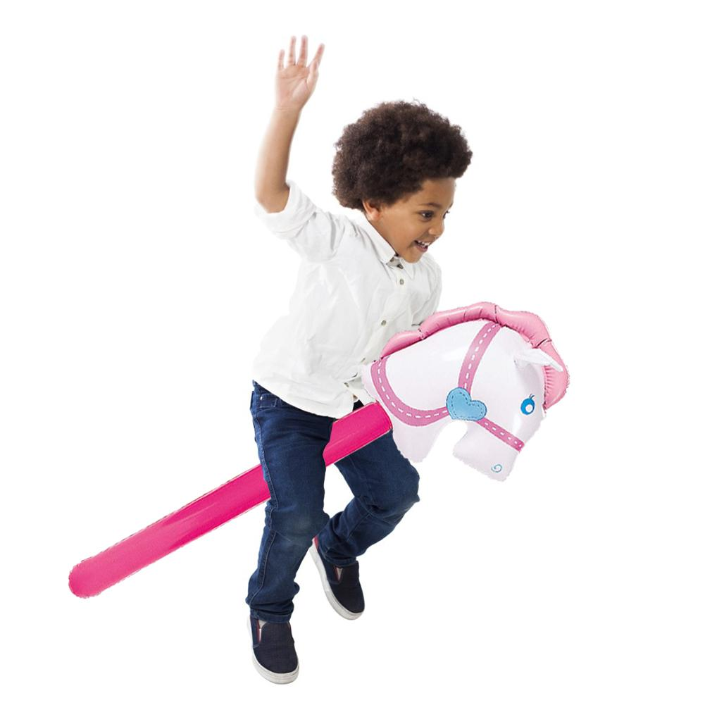 New Inflatable Cowgirl Stick Horse Inflatable Horse Heads Stick Outdoor Educational Toys For Children Babies Birthday Gifts