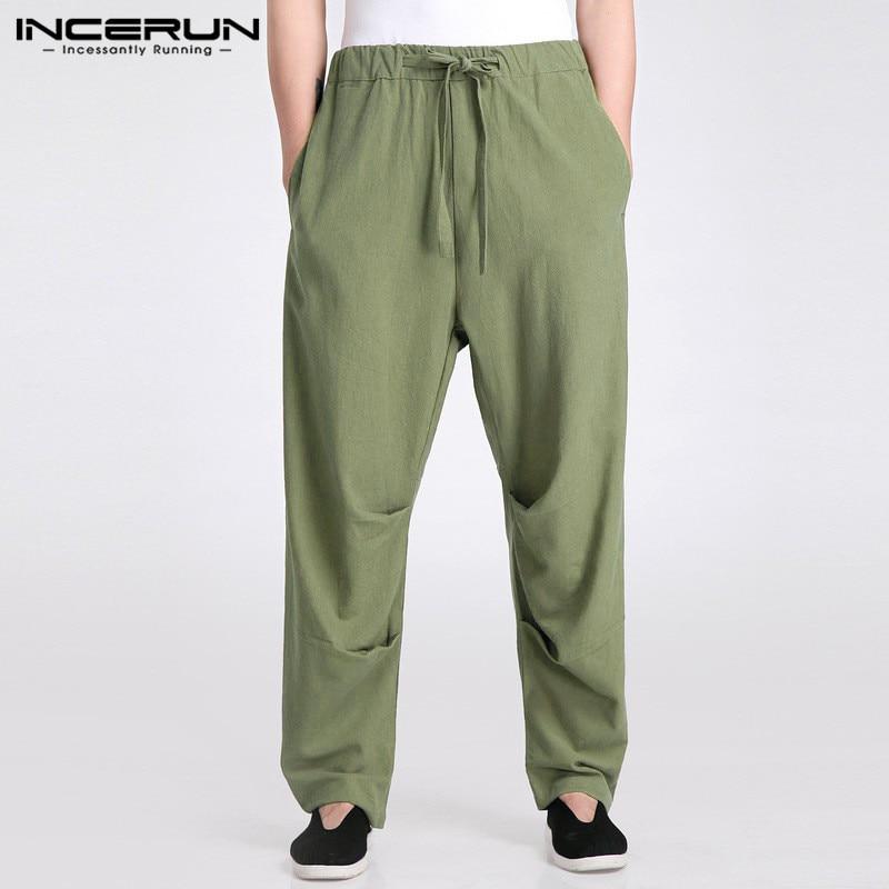 INCERUN Retro Men Pants 2020 Cotton Streetwear Joggers Drawstring Straight Trousers Men Solid Color Casual Long Pants Plus Size
