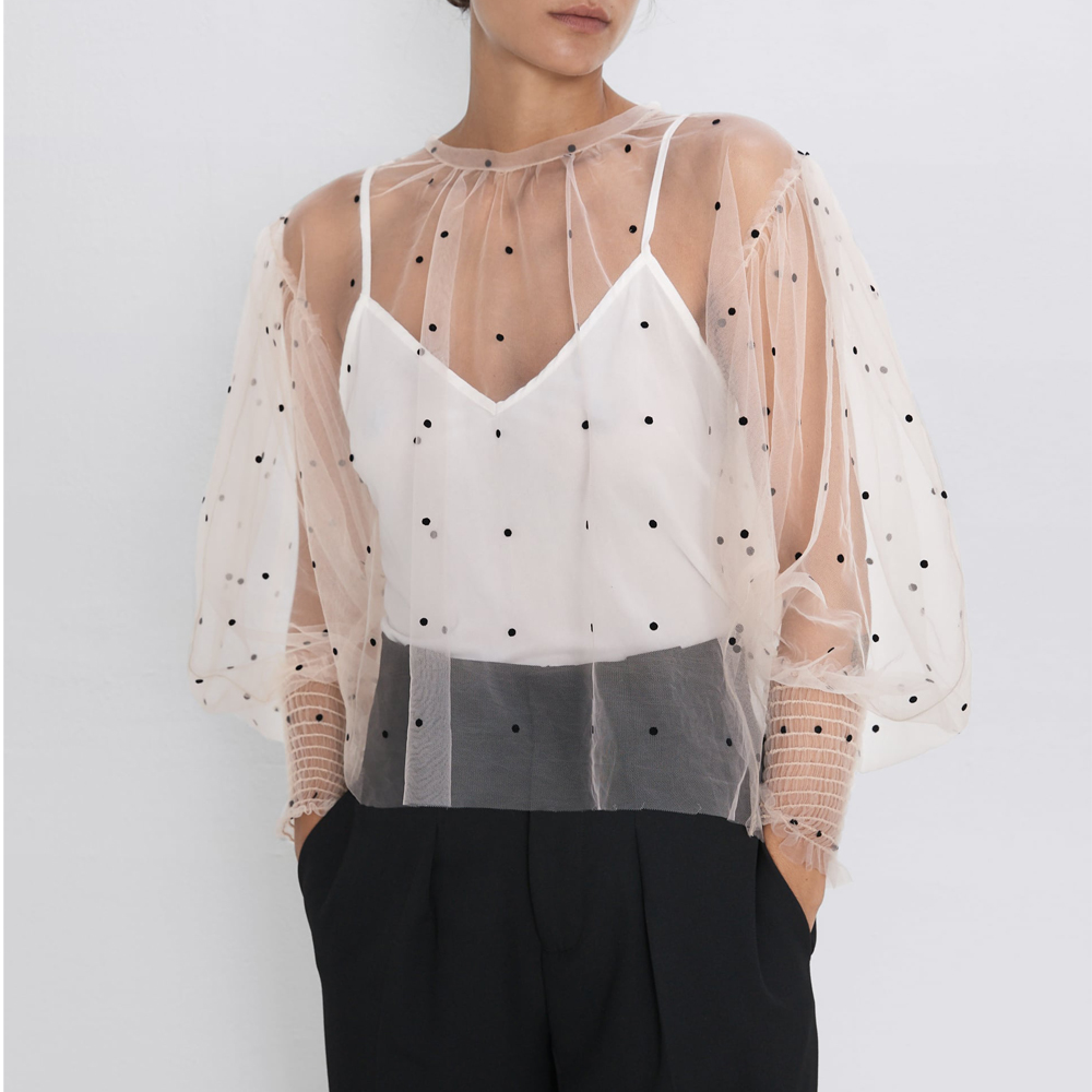 2019 Za Acutmn Women's SEMI-SHEER POLKA DOT BLOUSE Sexy See Through Female's Mesh Shirts